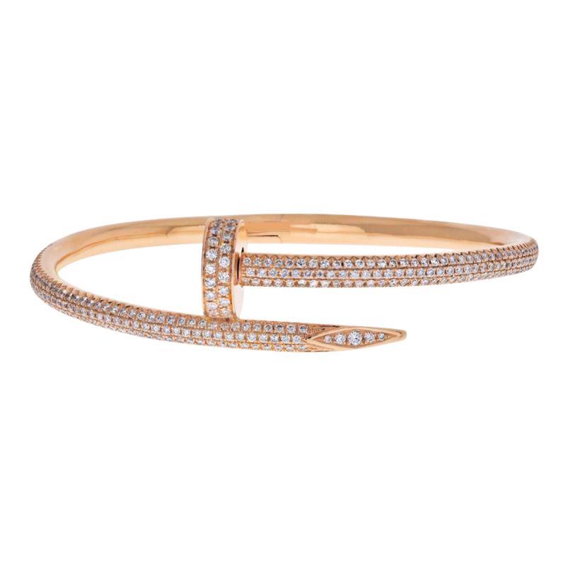 Cartier CARTIER JUSTE UN CLOU 18K ROSE GOLD ALL DIAMOND PAVE SIZE 15 BRACELET