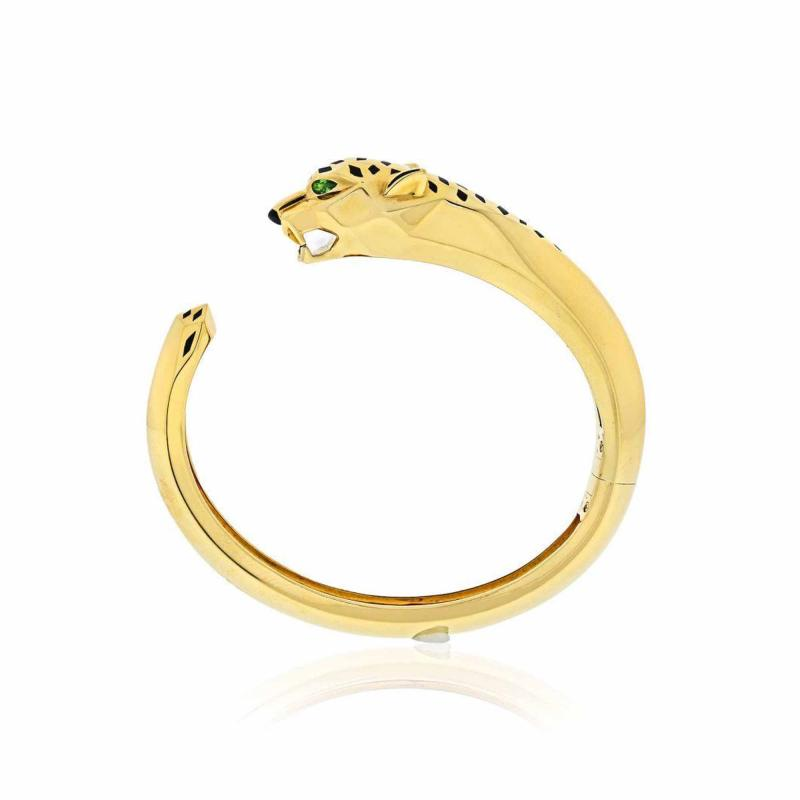 Cartier CARTIER PANTHERE 18K YELLOW GOLD HINGED CUFF BRACELET