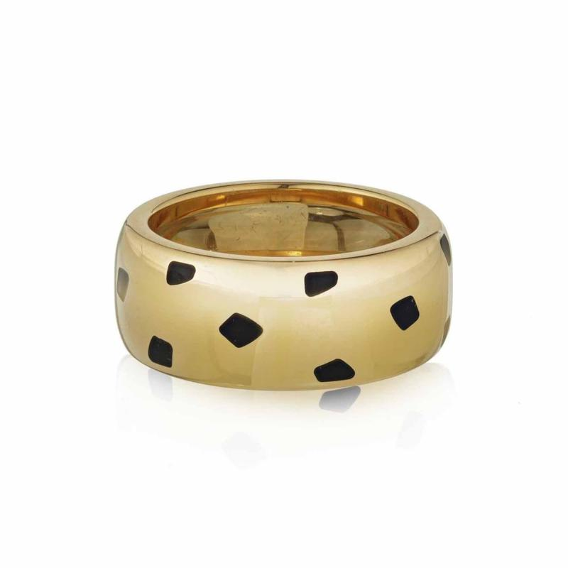 Cartier CARTIER PANTHERE 18K YELLOW GOLD SPOTTED LACQUER WEDDING RING