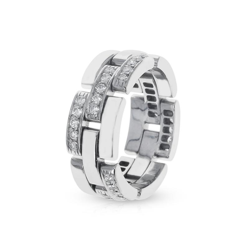 Cartier CARTIER PANTHERE WHITE DIAMOND LINK CHAIN STYLE WEDDING BAND 18K WHITE GOLD
