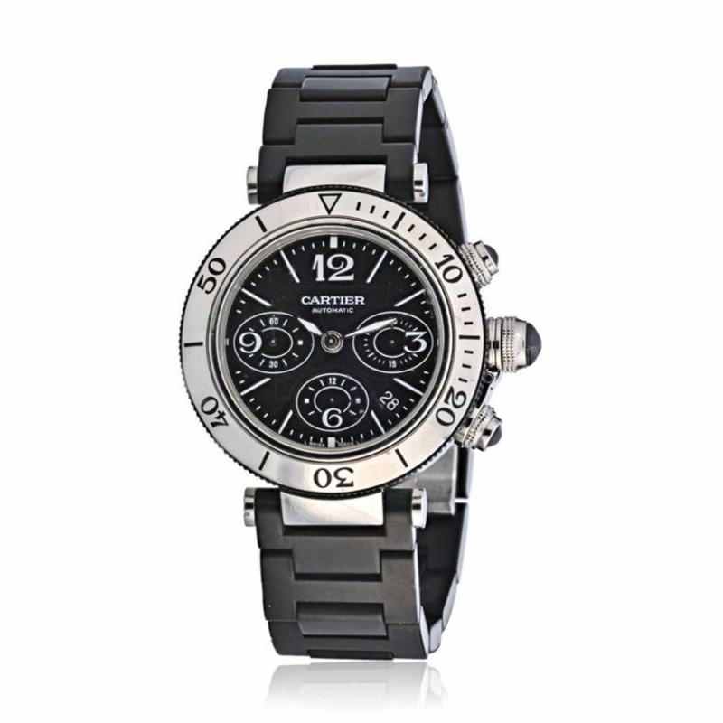 Cartier CARTIER PASHA SEATIMER STAINLESS STEEL CHRONOGRAPH RUBBER STRAP WATCH