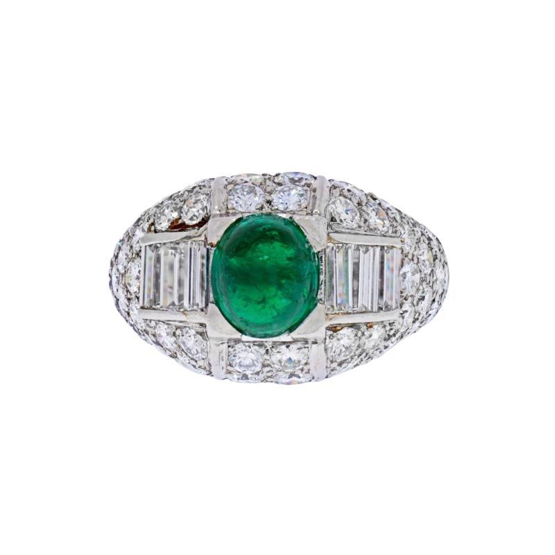 Cartier CARTIER PLATINUM CABOCHON EMERALD AND DIAMOND VINTAGE RING