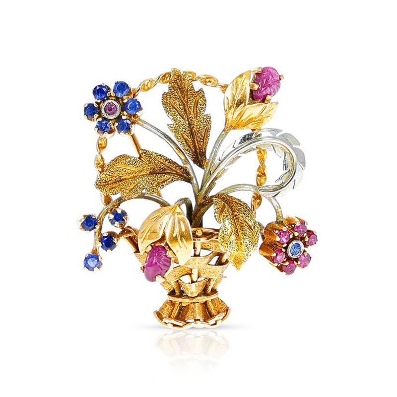Cartier CARTIER RUBY AND SAPPHIRE FLOWER BOUQUET BROOCH 18 KARAT TWO TONE GOLD