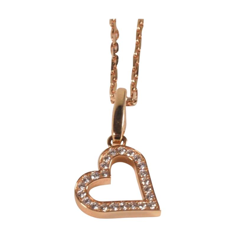 Cartier Cartier 18 Karat Pink Gold and Diamond Heart Pendant and Necklace 0 25 Carat