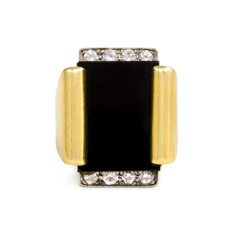 Cartier Cartier 1970s Gold Onyx and Diamond Plaque Ring