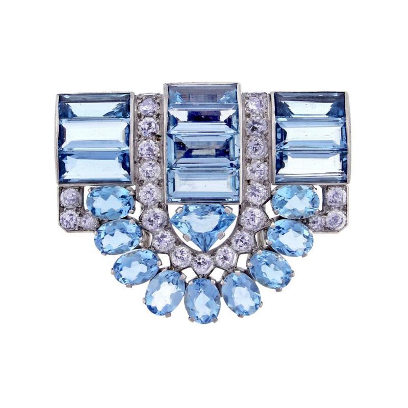 Cartier Cartier Aquamarine and Diamond Dress Clip Brooch