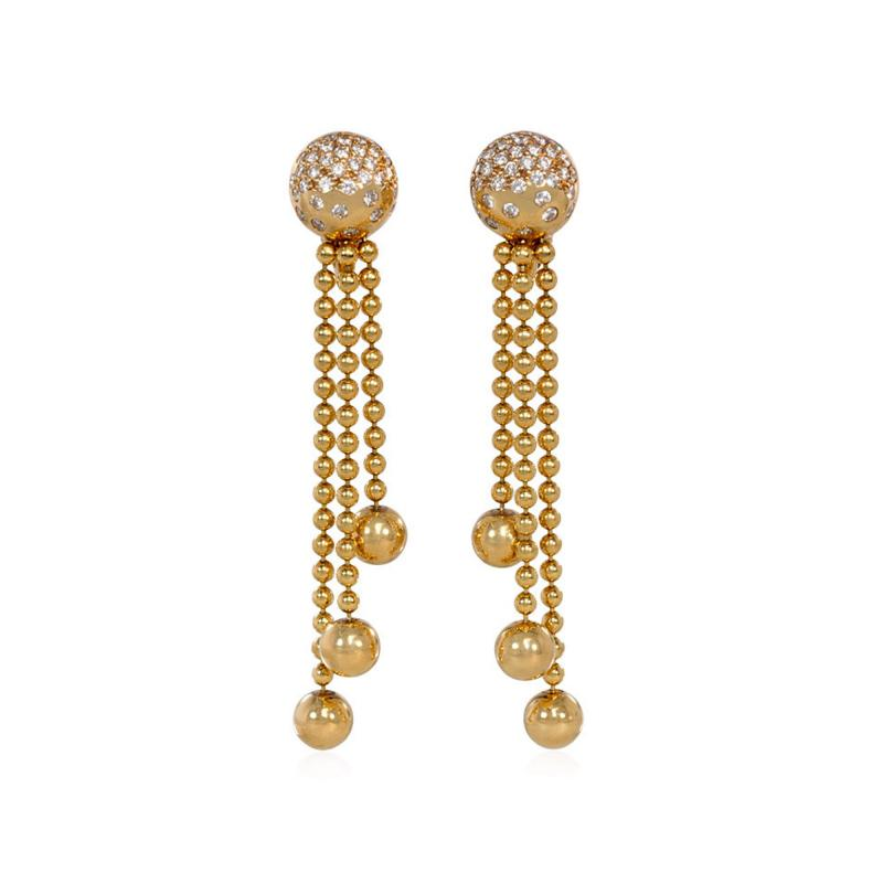 Cartier Cartier Estate Nouvelle Vague Gold Bead and Diamond Earrings with Fringe