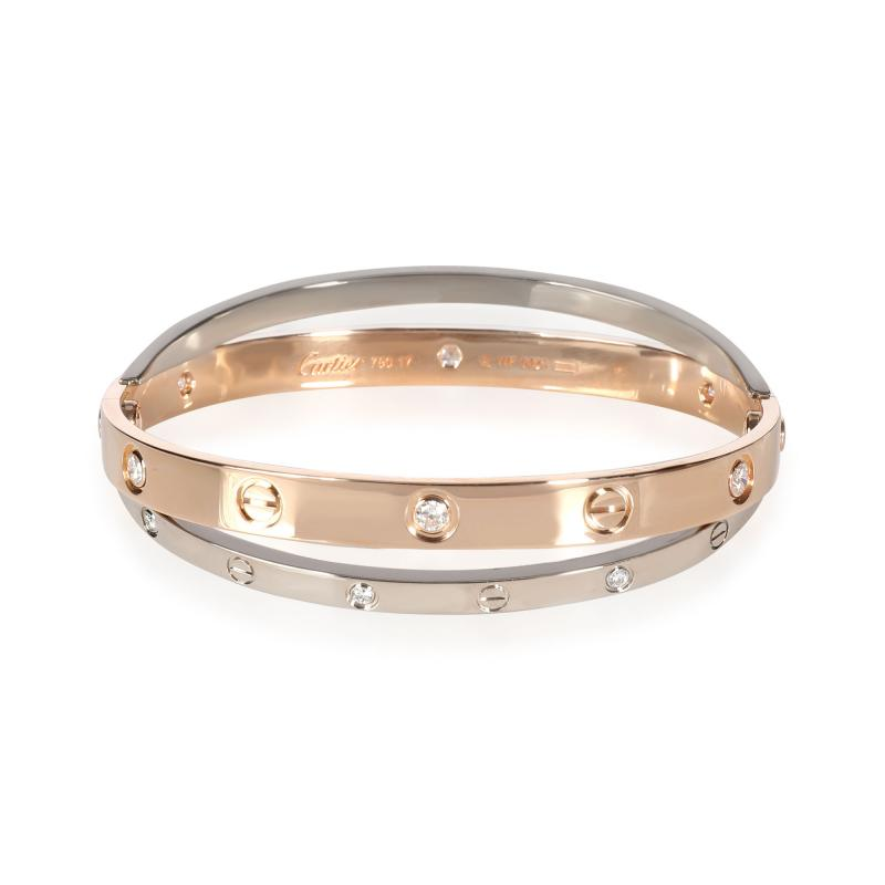 Cartier Cartier Joined Love Bracelet in 18KT Rose Gold White Gold 0 75 CTW