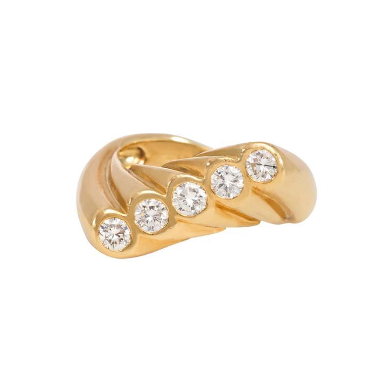 Cartier Cartier Mid Century Gold and Diamond Undulating Ring