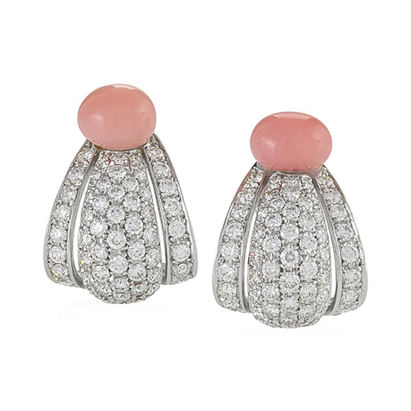 Cartier Cartier Paris Late 20th Century Diamond Conch Pearl and Platinum Earrings
