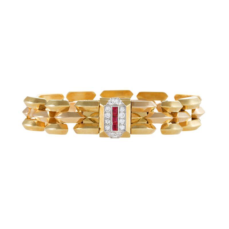 Cartier Cartier Paris Retro Diamond Ruby Pink Gold and Platinum Watch