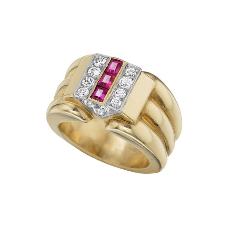 Cartier Cartier Paris Retro Diamond Ruby and Gold Ring