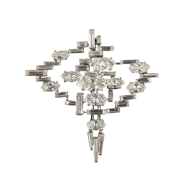 Cartier Cartier Signed Platinum Diamond Mid Century Comet Pin