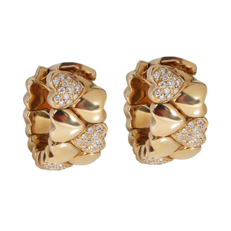 Cartier Cartier Symbols Hearts Diamond Hoop Earring in 18K Yellow Gold 0 50 CTW