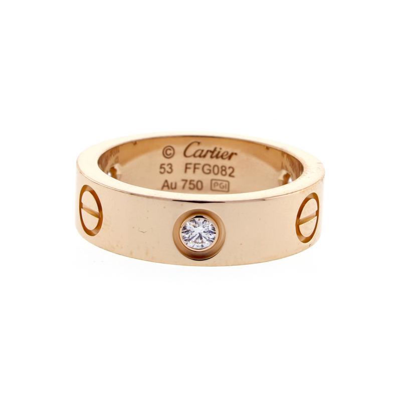 Cartier Cartier Three Diamond Pink Gold Love Ring