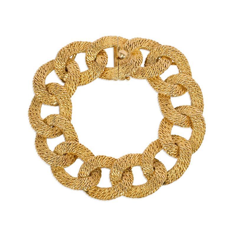 Cartier Georges LEnfant Cartier 1960s Gold Curb Link Bracelet Box and Certificate
