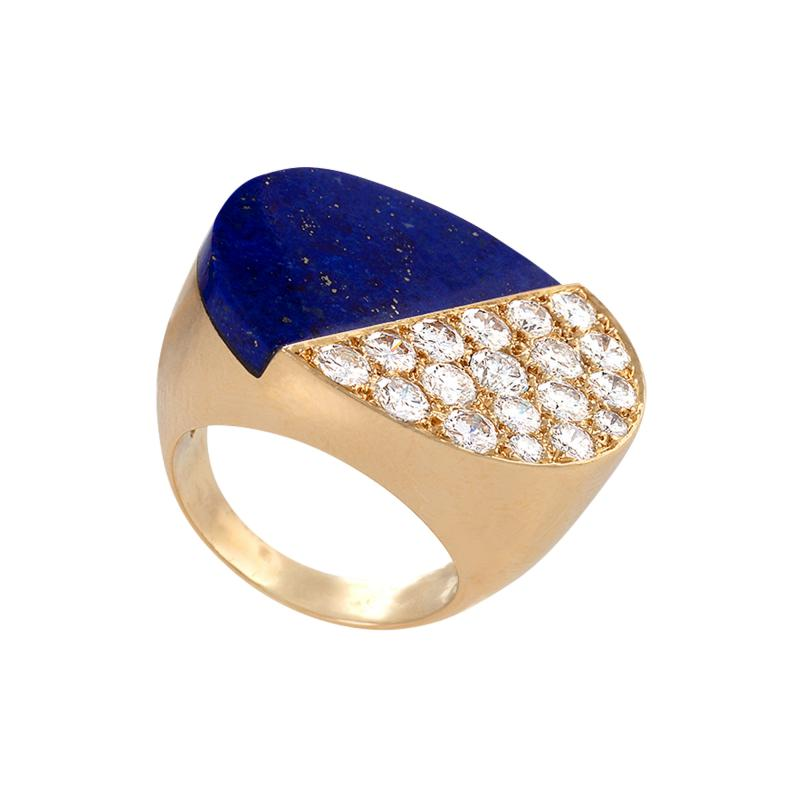 Cartier Gold Ring with Diamonds and Lapis Lazuli by Cartier