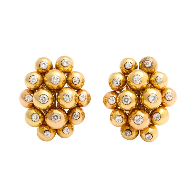 Cartier Gold and Diamond Cluster Earrings by Cartier