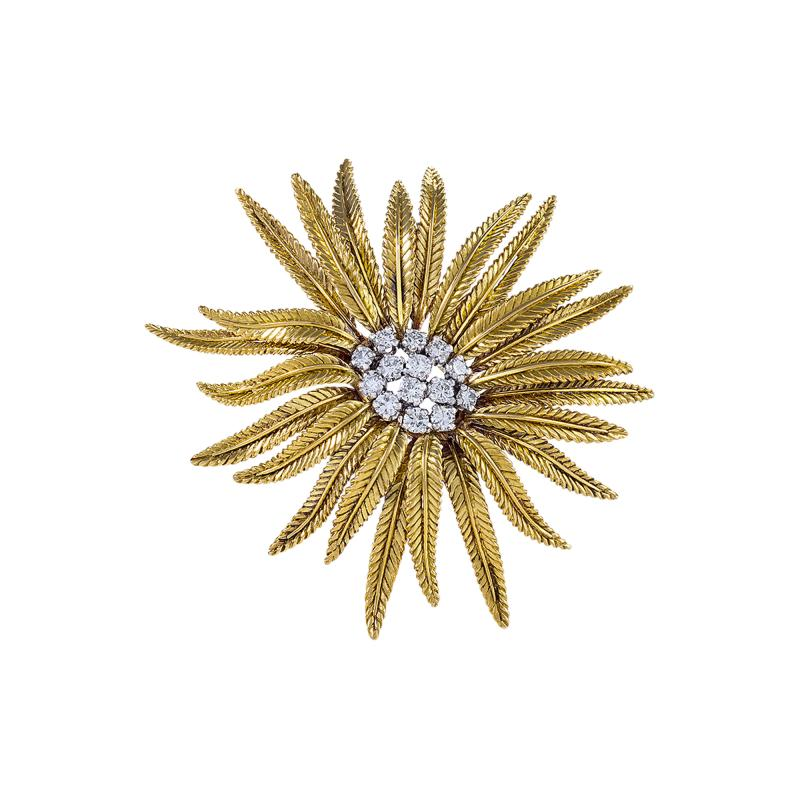 Cartier Gold and Diamond Flower Brooch by Cartier