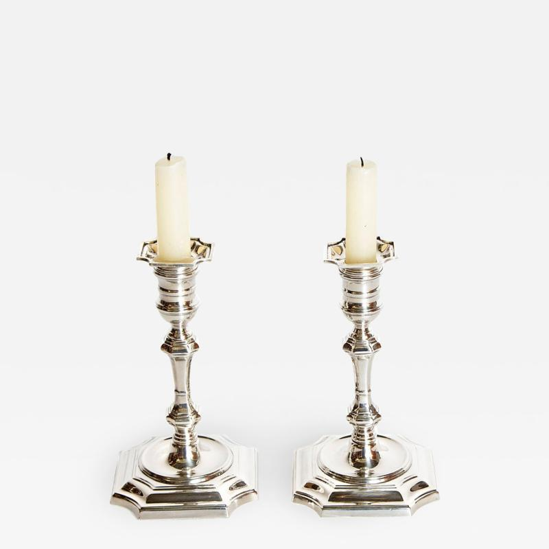 Cartier Pair of George II Style Sterling Silver Candlesticks by Cartier
