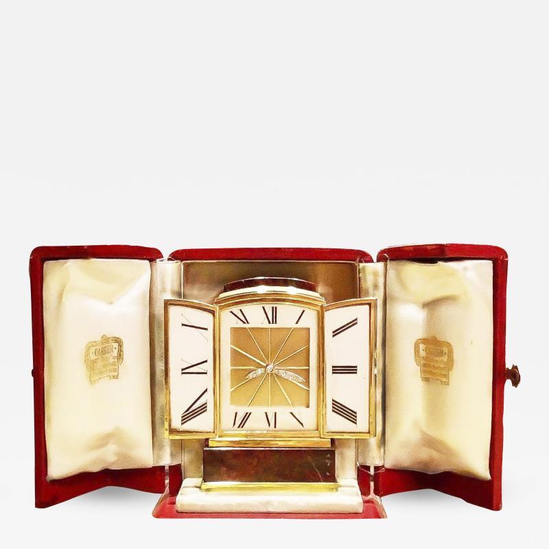 Cartier Piece Unique Large Cartier 1950s Hardstone Platinum Diamond Gold Shutter Clock