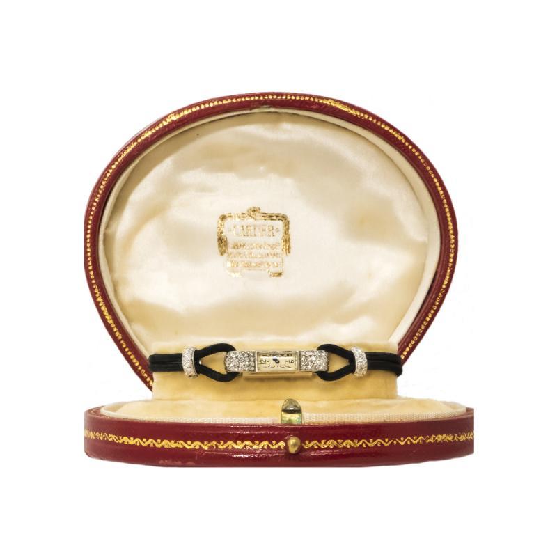 Cartier Rare 1920s Cartier Art Deco Platinum Pave Diamond Set Enamel Cord Cocktail Watch