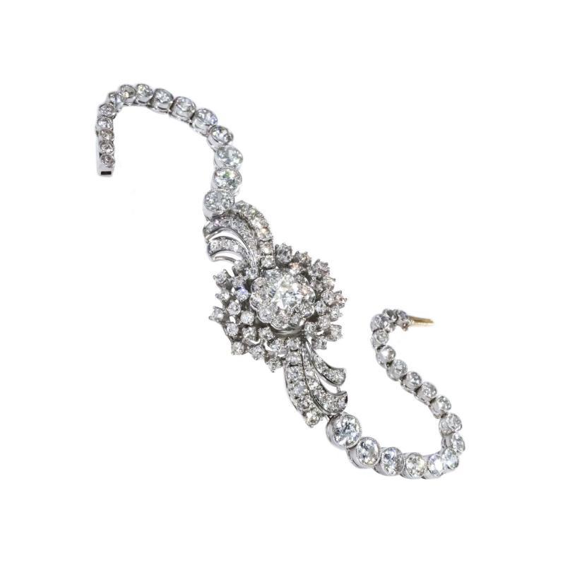 Cartier Rare 1940s 1950s Cartier Platinum Concealed Diamond Spray Motif Bracelet Watch