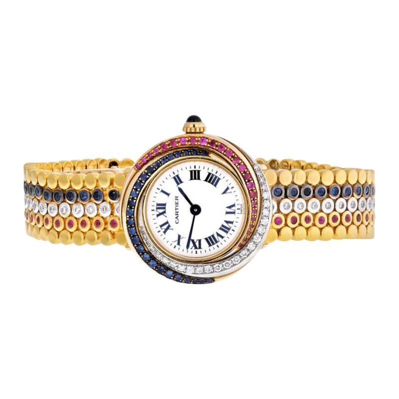 Cartier TRINITY 18K TRI COLOR 2357 SAPPHIRE RUBY AND DIAMOND LADIES WRIST WATCH