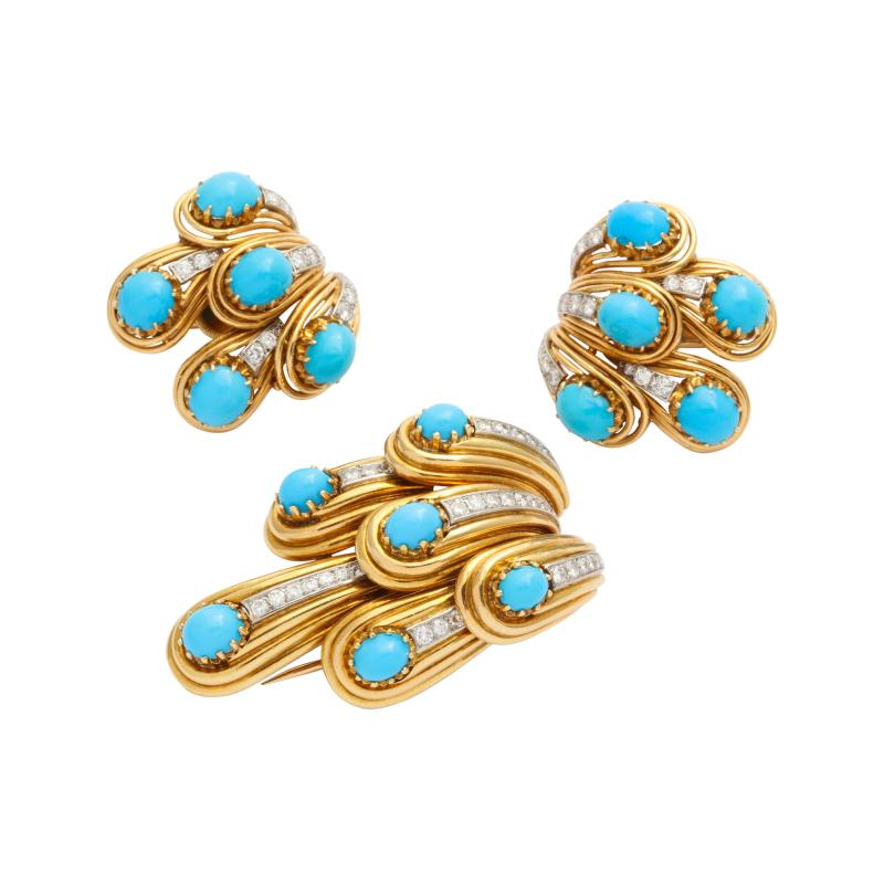 Cartier Turquoise and Diamond Brooch Earring Set in 18K gold by Cartier Paris