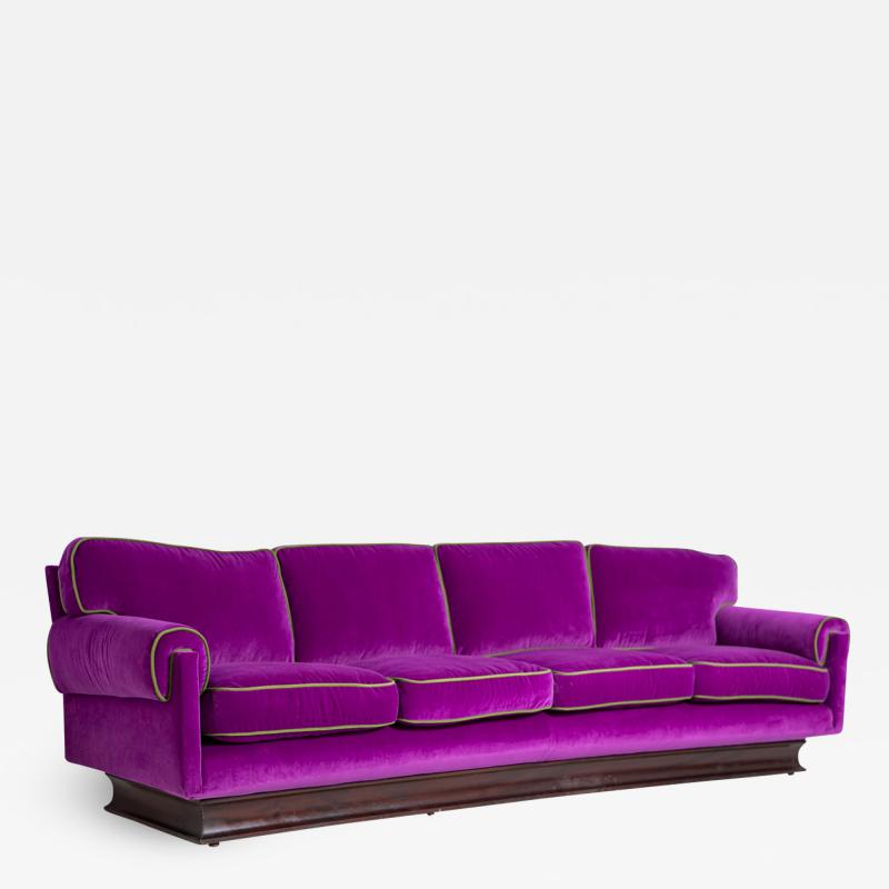 Cassina Italian Sof by Cassina in purple Velvet and green 1950s