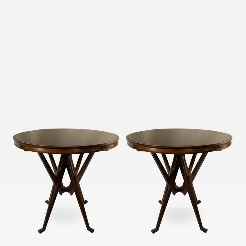 Cassina Pair of Cassina 1950s Italian Wood And Glass Circular Side or End Tables