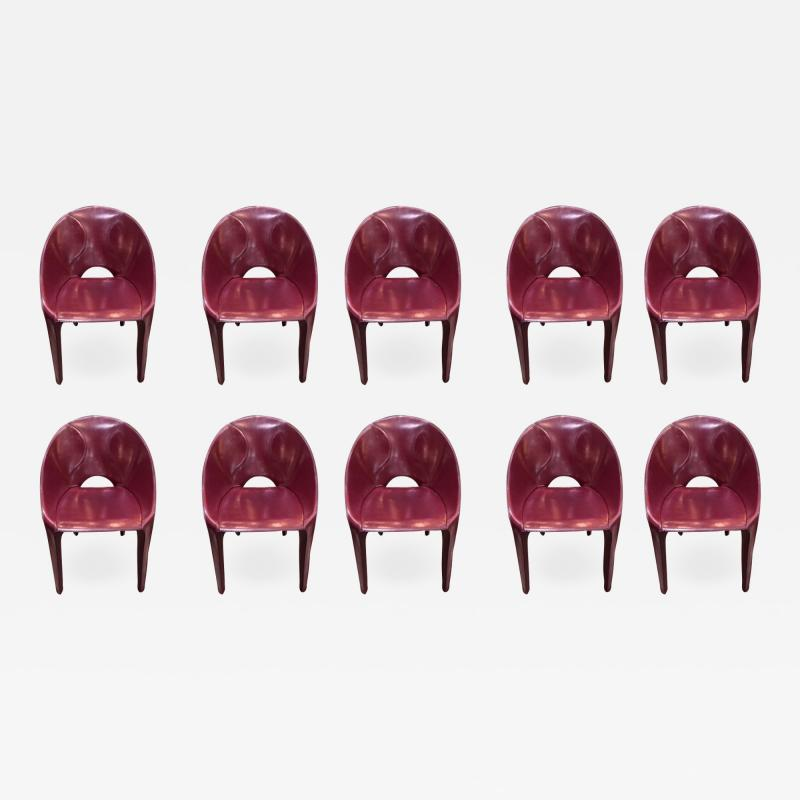 Cassina Set of 10 Dining Leather Chairs for Cassina Studio Italy 1970s