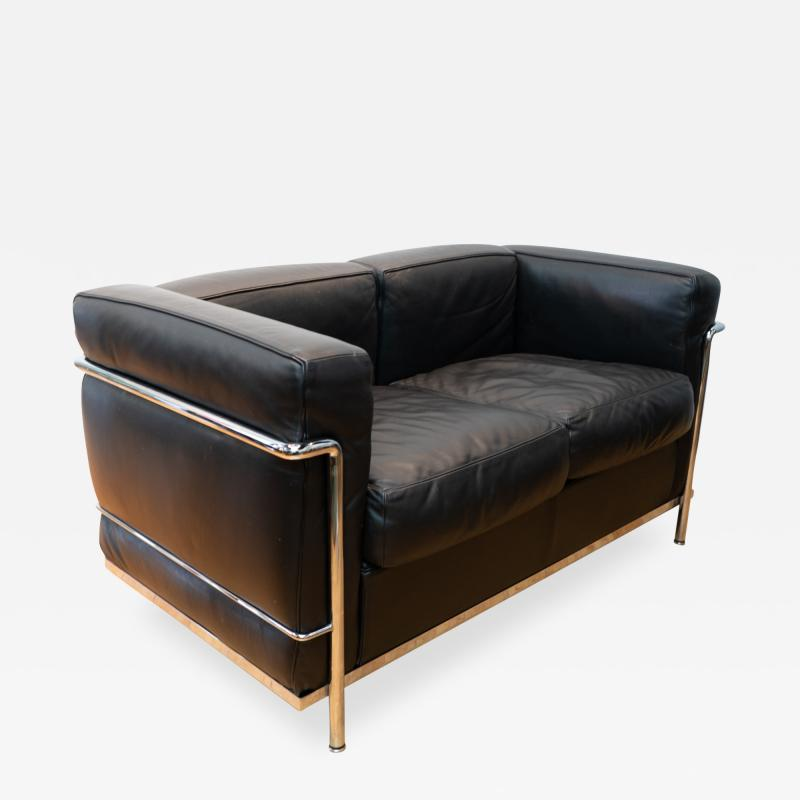 Cassina Vintage Le Corbusier LC2 Petit Modele Two Seat Sofa by Cassina Black Leather
