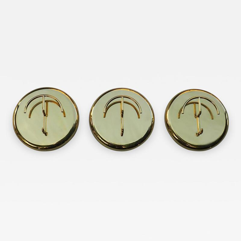 Cattadori Italian 1970s Oversized Brass Coat Hooks by Cattadori