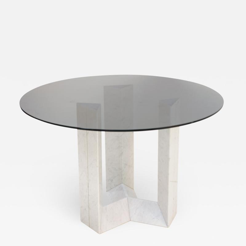 Cattelan Italia Cattelan Italia Carrara Marble and Smoked Glass Italian Table