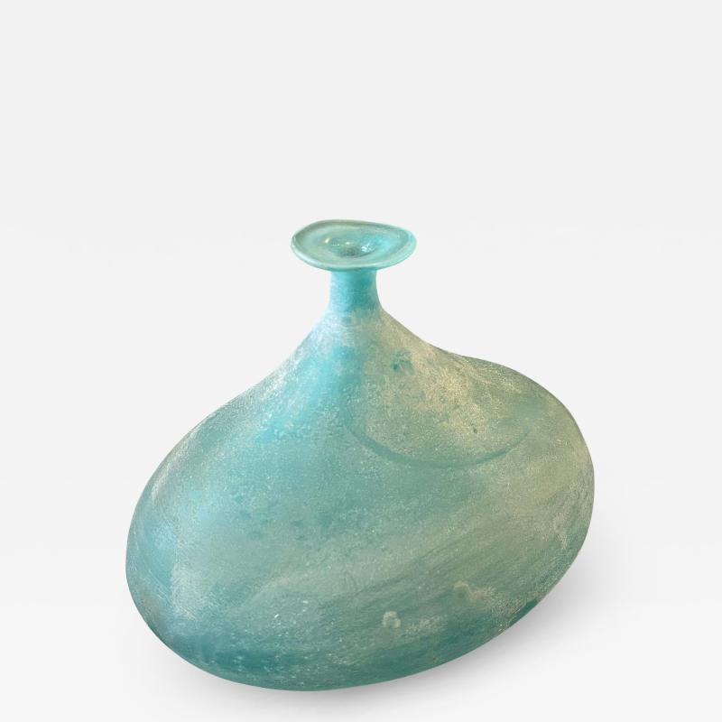 Cenedese Cenedese 1960s Blue Ocean Scavo Murano Glass Oval Vase