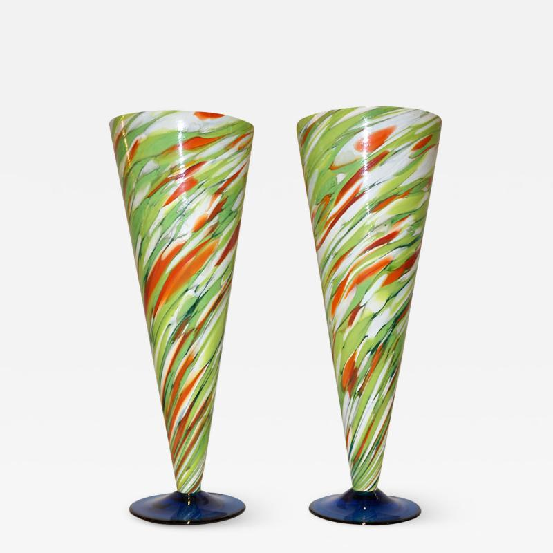 Cenedese Cenedese 1970 Pair of White Green Orange Murano Glass Conical Vases on Blue Base