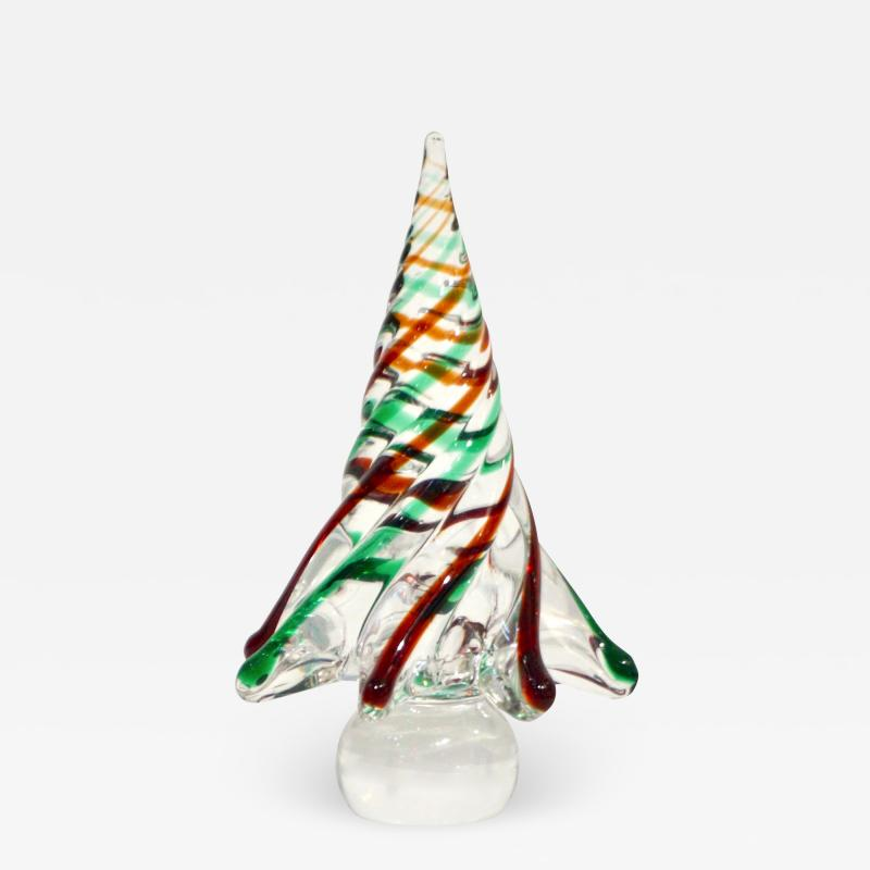 Cenedese Cenedese 1980 Italian Modern Green Red Clear Twisted Murano Glass Tree Sculpture