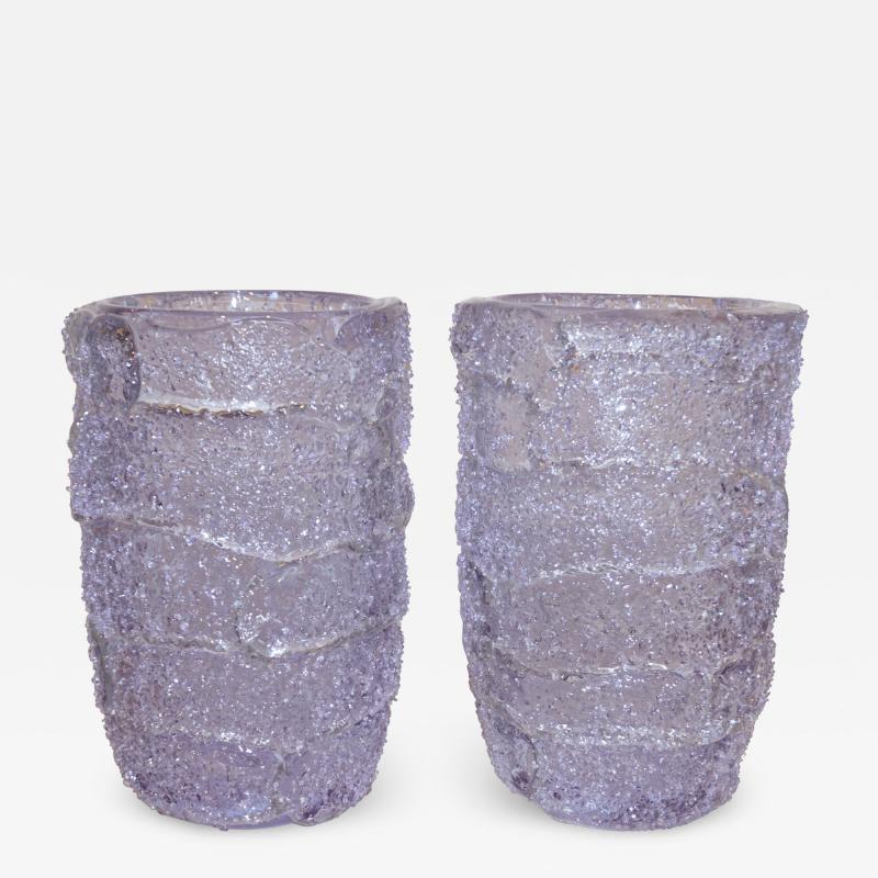 Cenedese Cenedese Italian Pair of Pink Amethyst Aqua Blue Alexandrite Murano Glass Vases