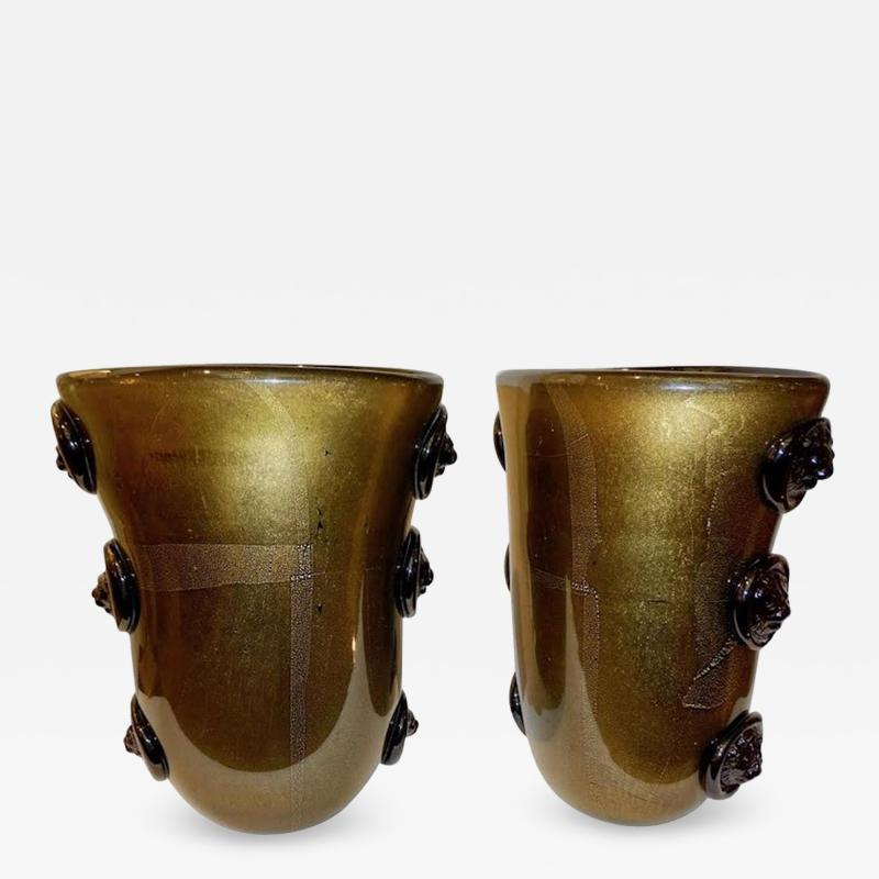 Cenedese Cenedese Vintage Pair of Pure Gold and Black Murano Glass Vases with Lion Heads