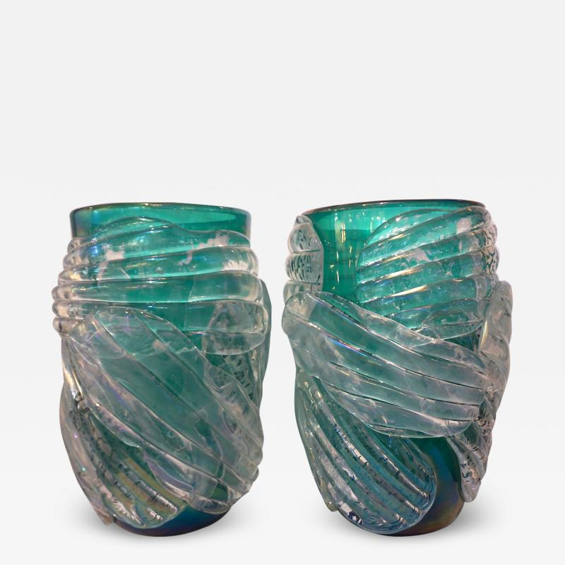 Cenedese Italian Modern Pair of Iridescent Emerald Green Murano Glass Sculpture Vases