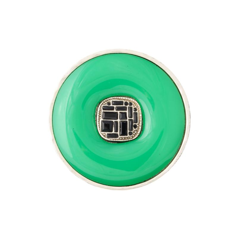 Chanel Chanel Green Glass Onyx Silver Ring