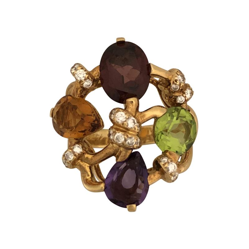 Chanel Chanel multi colored stone and diamond ring
