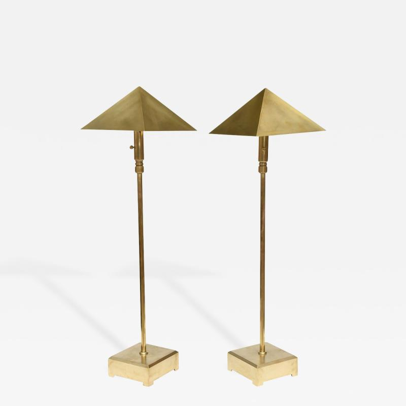 Chapman Manufacturing Company American Pair of Brass Adjustable Table or Floor Lamps Chapman