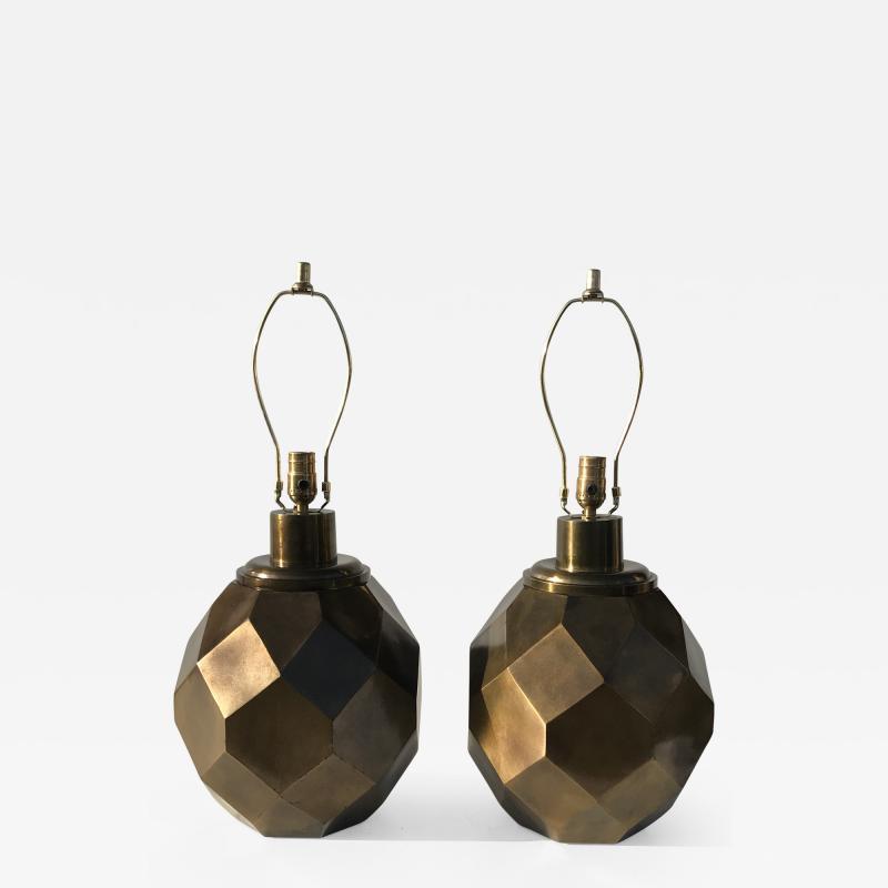 Chapman Manufacturing Company Pair of Geometric Faceted Sphere Lamps by Chapman