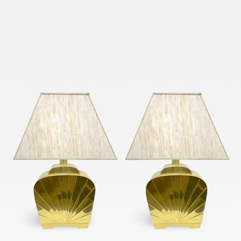 Chapman Mfg Co 1970s Chapman Vintage Art Deco Design Pair of Hollywood Regency Gold Brass Lamps
