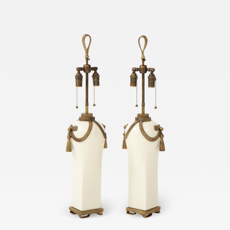 Chapman Mfg Co Stunning Pair of Art Deco Style Ceramic Lamps