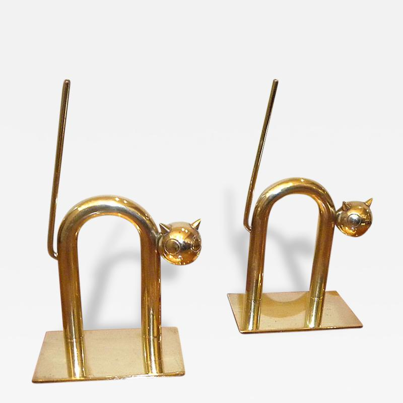 Chase Brass and Copper Company Art Deco Cat Bookends by Walter Von Nessen
