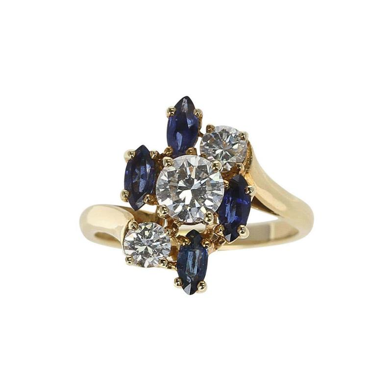 Chaumet Chaumet Paris Marquise Sapphire and Round Diamond Ring 18 Karat Yellow Gold