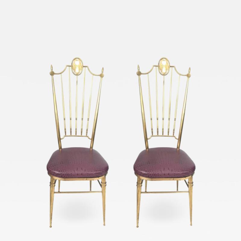 Chiavari Pair of Italian Brass Chiavari Side Chairs with Aubergine Crocodile Leather